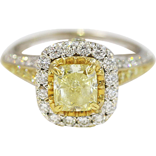 Fine 18k Yellow and White Gold Square Cushion Diamond Ring