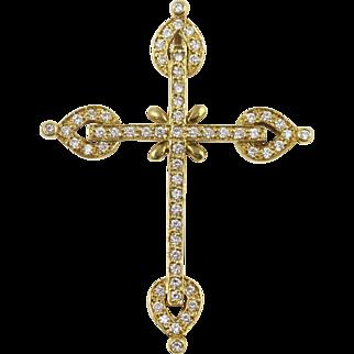 Fine 18k Yellow Gold Diamond Cross Pendant