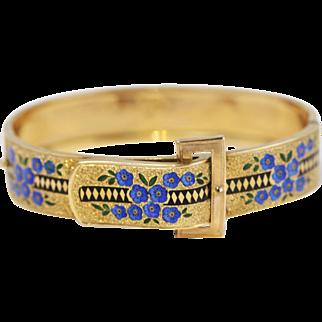 Fine 14k Gold Enameled Floral Bangle Bracelet w/ Buckle Motif