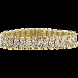 Stunning Vintage 10k Yellow Gold 5 Carat Diamond Link Bracelet