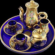 Vintage Cobalt Blue Glass Tea Set w/ Czech Bohemian Enamel Flowers