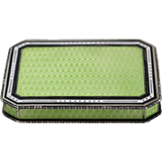Beautiful Lime Green and White Enamel Sterling Silver Trinket Box