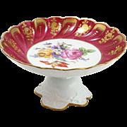 Vintage Limoges Hand-Painted Floral Compote in Magenta