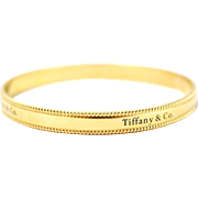 Tiffany & Co. Fine 18k Yellow Gold Beaded Edge Bangle Bracelet