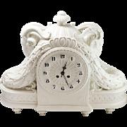 Schwarzburger Werkstätten für Porzellankunst White Porcelain Large Mantle Clock w/ Ram Head