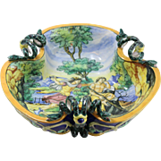 Rare Vintage Capodimonte Hand-Painted Serpent Handle Bowl
