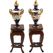 Pair of Rare Vintage Crown Staffordshire Miniature Display Vases with Wooden Tables