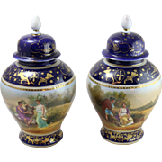 Pair of Vintage Vienna Style Hand-Painted Porcelain Vases w. Lids