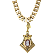 Antique Gold Filled Chain Cameo Necklace w/ Hidden Compartment
