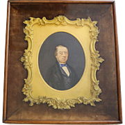Framed Gold Gild Bronze Frame w. Hand-Painted Portrait of Gentleman