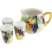 Beautiful Limoges Hand-Painted Water Pitcher and Cup Serving Set