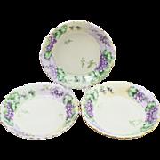 Vintage Set of 3 Royal Austria Hand-Painted Purple Floral Bowls