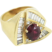 Lady's 14k Yellow Gold Diamond and Ruby Triangular Ring