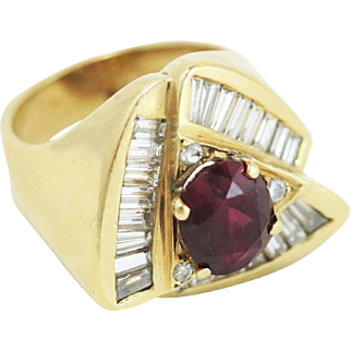Lady's 14k Yellow Gold Diamond and Ruby Triangular Ring