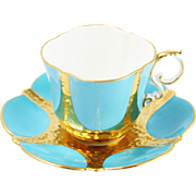 Lovely Aynsley Blue and Gold Teacup and Saucer