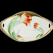 Vintage Bavaria Poppy Flower Handled Porcelain Bowl