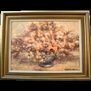 John G. Naylor Original Framed Oil Painting of Hidden Faces in Flowers