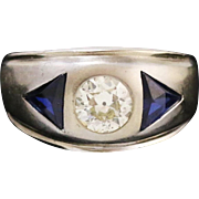 Fine Lady's 14k White Gold with Diamond and Simulated Sapphire Ring