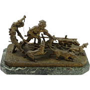 Fine Bronze Sculpture of Boys Walking Dogs w/ Marble Base