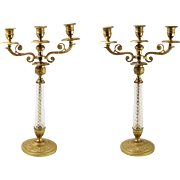 Pair of Lovely Vintage Bronze and Crystal 3-Light Candelabras