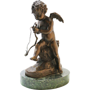 Signed Auguste Moreay Bronze Cupid Statue on Green Marble Base *