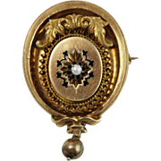 Antique Gold-Filled Oval Brooch w/ Black Enamel and Pearl