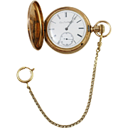 Vintage Elgin Natl. Watch Co. 14k Yellow Gold Etched Pocket Watch w/ Gold Filled Chain