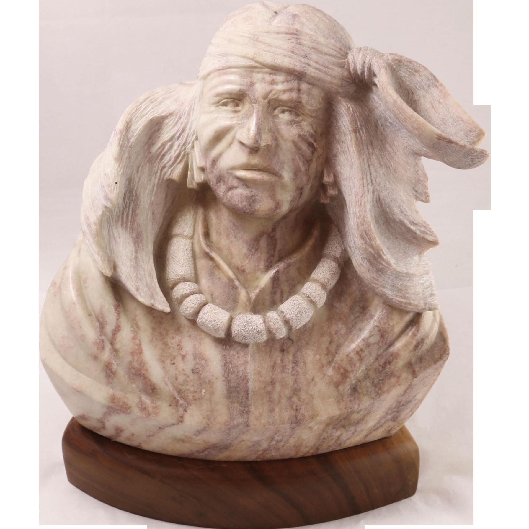 Beautiful vandu hard stone carving of native american from