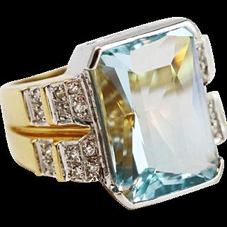 Fine Aquamarine & Diamond Statement Ring in 18k Yellow Gold