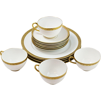 D/C France White and Gold Rim Teacup and Dessert Service for 4