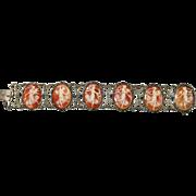 Antique Sterling Silver Cameo Link Bracelet w Marcasite Stones