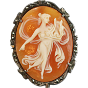Antique Sterling Silver Cameo Convertible Pendant / Brooch w Marcasites