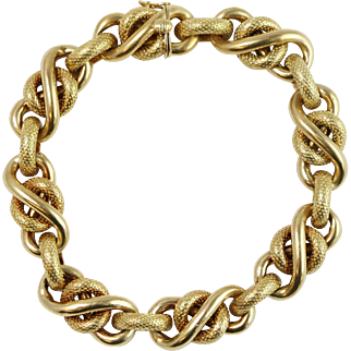 Fine 18k Yellow Gold Rope Link Chain Bracelet