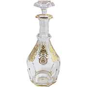 Baccarat France Fine Crystal Decanter w Gold Decoration