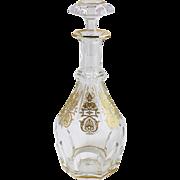 Baccarat France Fine Crystal Decanter w Gold Decoration