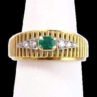 Vintage 18k Yellow Gold Diamond and Emerald Ridged Band Ring
