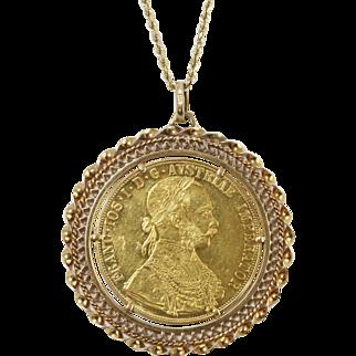 Fine 1915 24k Austria 4 Ducat Coin in 14k Bezel Pendant Necklace