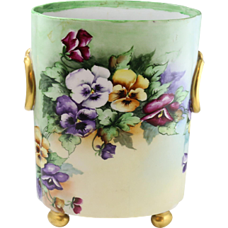 Beautiful Vintage Limoges Hand-Painted Footed Cache Pot