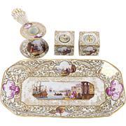 Meissen 1930s Hand-Painted Porcelain Inkwell Set w/ Tray