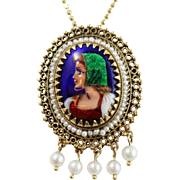Vintage 14k Yellow Gold Enamel Portrait Convertible Brooch/Necklace w Seed Pearls