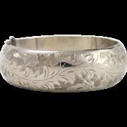 Beautiful Antique Sterling Silver Etched Floral Bangle Bracelet w Hinge