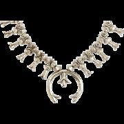 Vintage Native American Navajo Silver Squash Blossom Statement Necklace