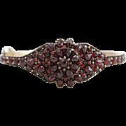 Stunning Antique Victorian Silver Garnet Fluerette Bangle Bracelet