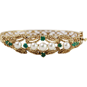 Fine 14k Yellow Gold Openwork Pearl and Emerald Hinged Bangle Bracelet