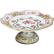 Hand Painted Reticulated Dresden Compote