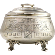 Antique Austrian 800 Silver Lidded Etched Box
