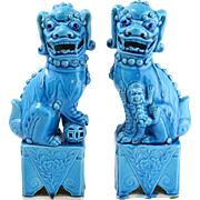 "Pair of 9.75"" Vintage Chinese Foo Dogs in Vibrant Blue"