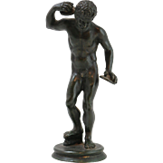 "Antique Bronze 5"" Miniature Figurine of Male Nude"