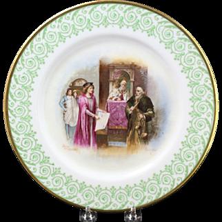 "Limoges Elite France Hand Painted 'The Merchant of Venice"" Shakespearean Scene Plate"