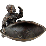 Antique Bronze Figural Trinket Bowl of Young Boy at Koi Pond